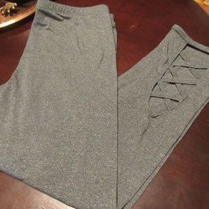 Medium Charcoal Grey Lattice Design Leggings - MJ